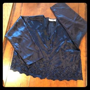 Victoria's Secret Gold Tag Navy Embroidery PJ Top